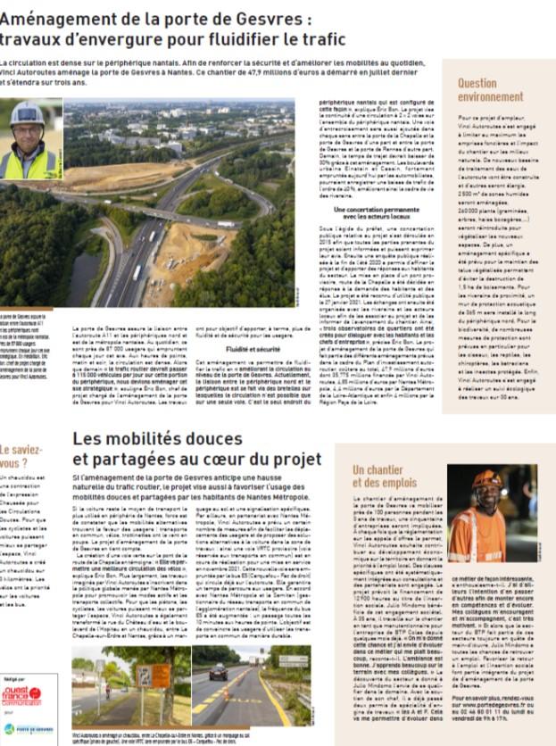 Le projet d'aménagement de la Porte de Gesvres s'illustre dans Ouest France et Presse Océan du 19 octobre !